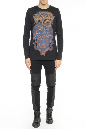 Leather-trim sweatpants od Balmain