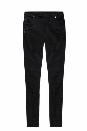 'biker' jeans with a glitter finish od Balmain