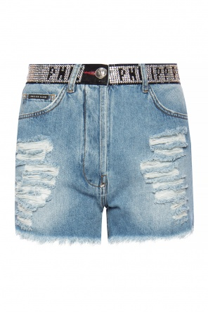 Raw-edge denim shorts od Philipp Plein