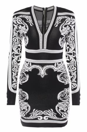Patterned flared dress od Balmain