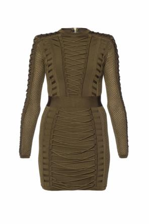 Dress finished with a net and lace-up od Balmain