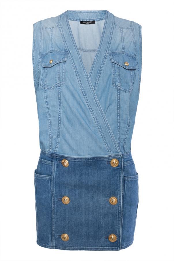 the best attitude factory outlet new design Double-breasted denim dress Balmain - Vitkac shop online