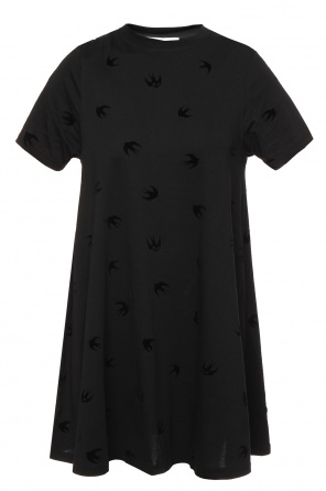 Velvet swallows flared dress od McQ Alexander McQueen