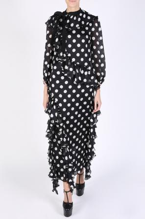 Polka dot long ruffle dress od Gucci