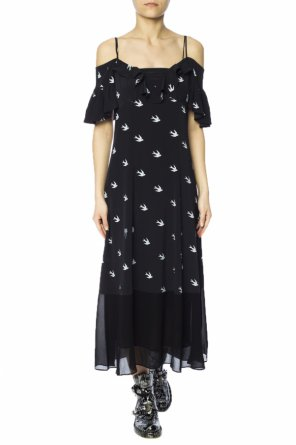 Long dress with swallow motif od McQ Alexander McQueen