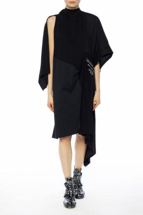 Asymmetrical dress with lettering od Balenciaga