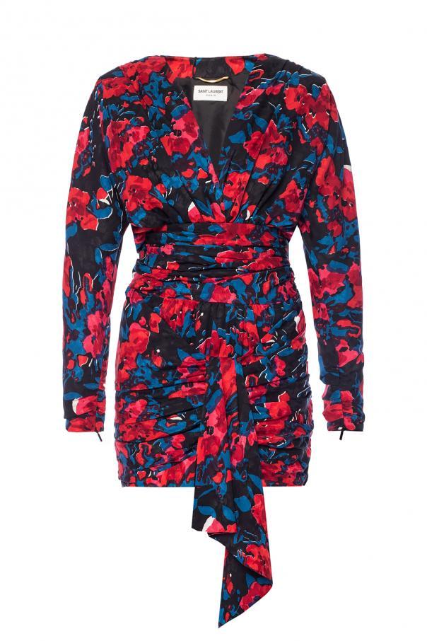 Saint Laurent Sukienka z motywem kwiatowym