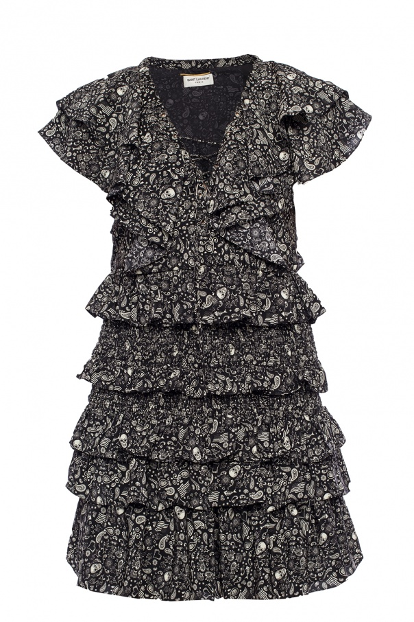 Saint Laurent Ruffled silk dress