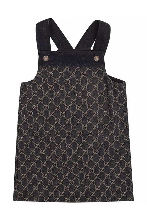 Gucci Kids Denim dress with monogram