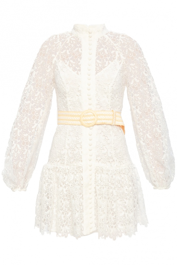 Zimmermann Band collar lace dress