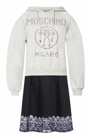 Dress with studded logo od Moschino