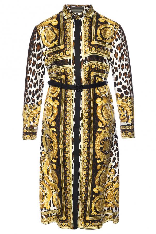 a0c6cca1d5 Wzorzysta sukienka z paskiem Versace - sklep internetowy Vitkac