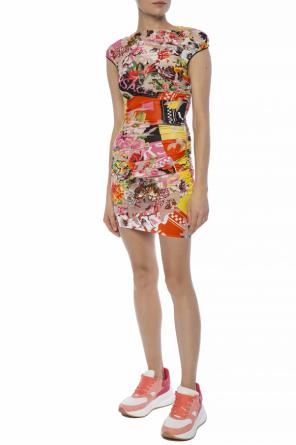 Gathered patterned dress od Versace