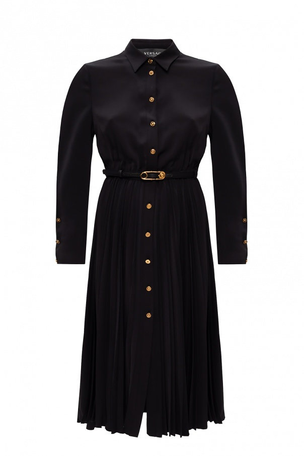 Versace Pleated dress with long sleeves