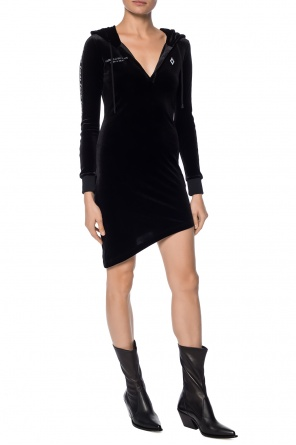 Asymmetrical dress with a hood od Marcelo Burlon
