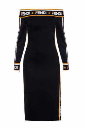 Denuded shoulder dress od Fendi