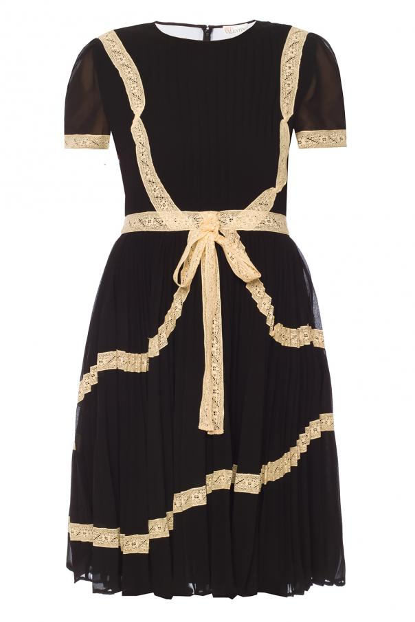 Pleated Dress With Bow Red Valentino Vitkac Shop Online