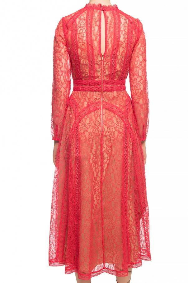 Self Portrait Ażurowa sukienka z długimi rękawami QtXPs8mv