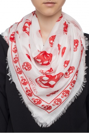 Scarf with a skull motif and a logo od Alexander McQueen