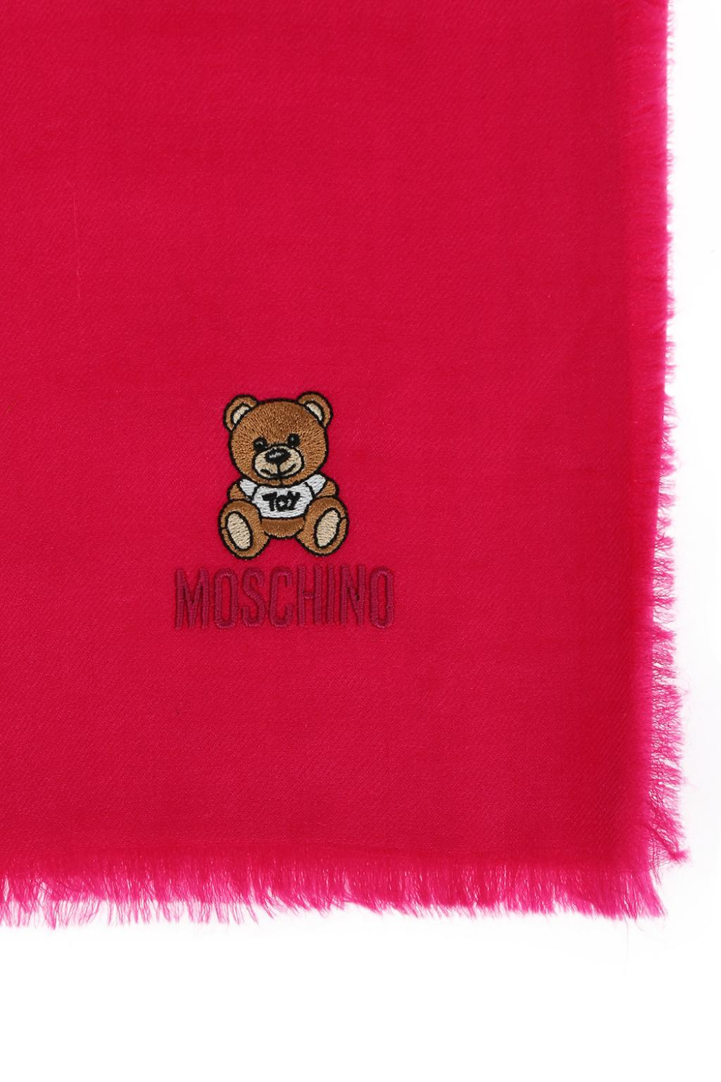 Moschino Teddy bear-embroidered scarf