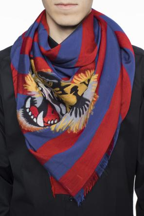 Tiger heads-embroidered shawl od Gucci