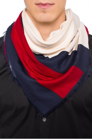 Shawl with a logo and 'web' stripes od Gucci