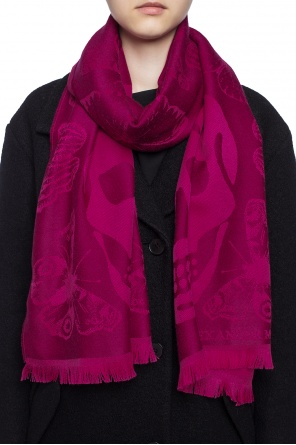 Scarf with an embroidered pattern and logo od Alexander McQueen