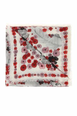 Patterned shawl with a floral and skull motif od Alexander McQueen