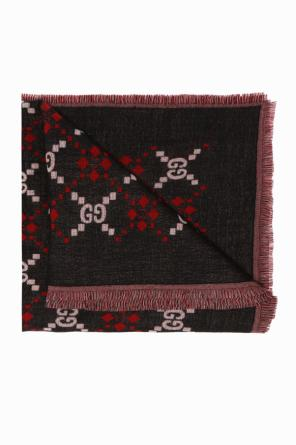 Patterned shawl with a logo od Gucci