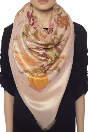 Wool scarf with a floral print od Gucci