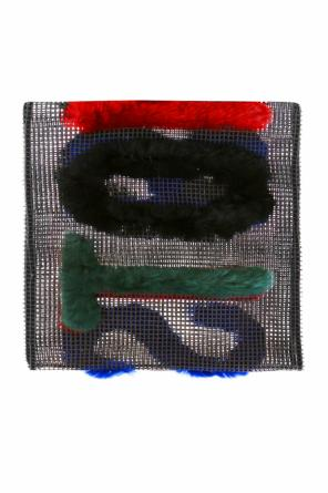 Transparent scarf with fur writing od Mihara Yasuhiro