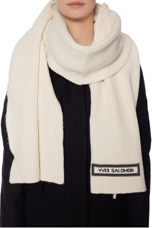 Ribbed scarf with logo od Yves Salomon