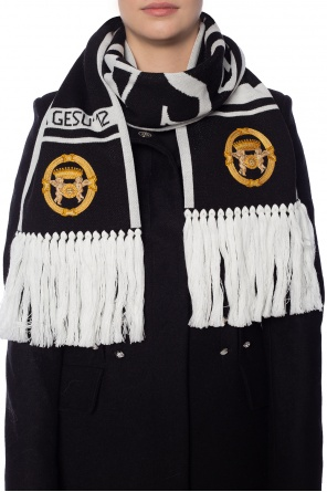 Wool scarf with a medusa head od Versace