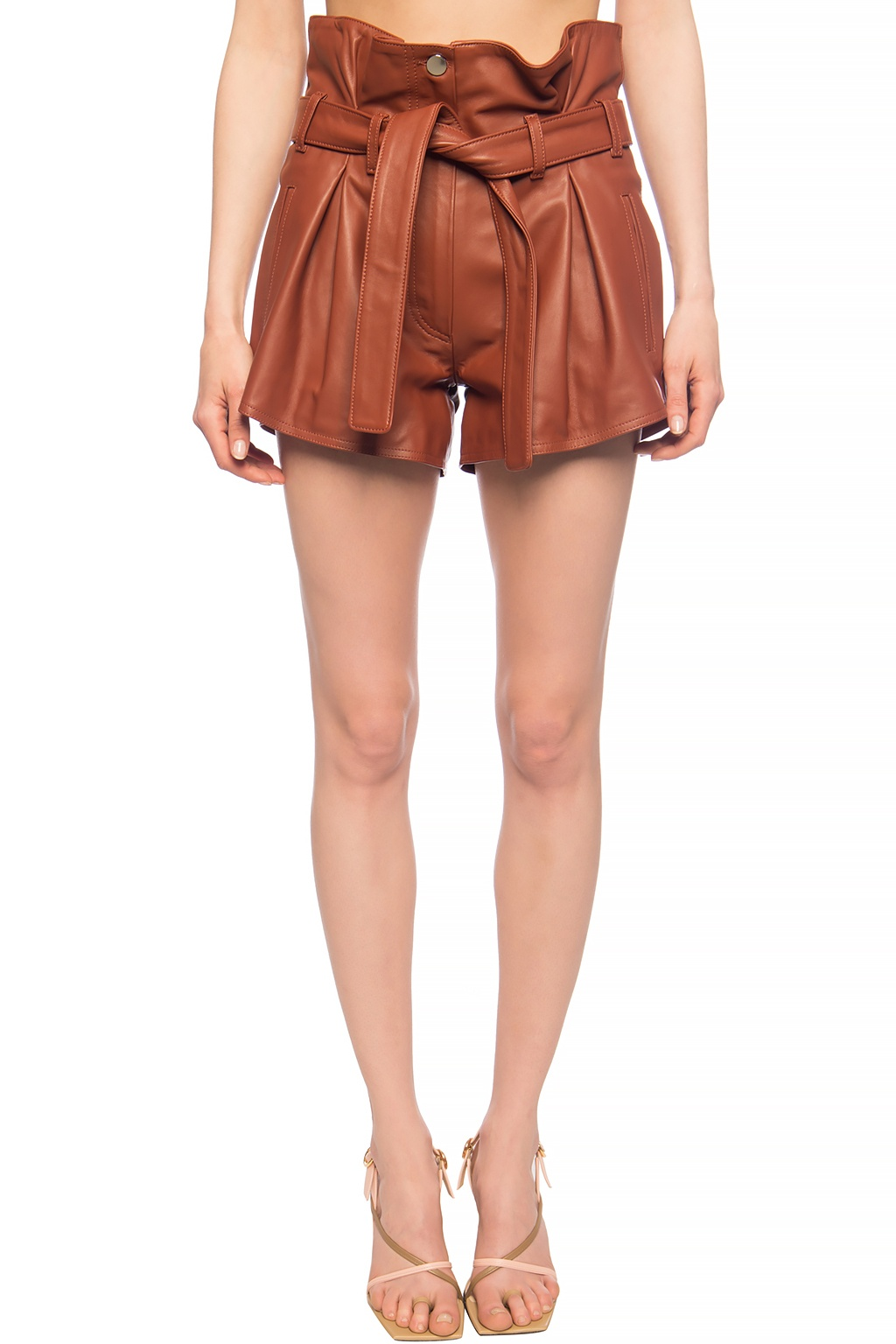 The Attico High-waisted leather shorts