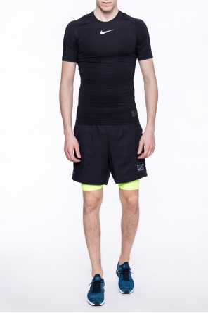 Two-layered shorts with logo od EA7 Emporio Armani