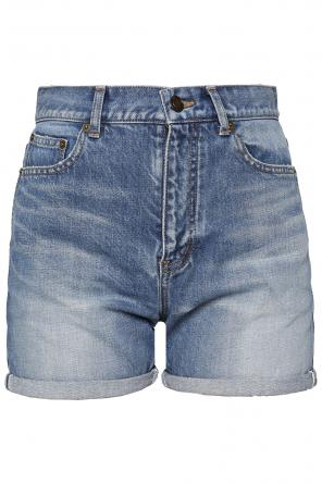High-waisted denim shorts od Saint Laurent Paris