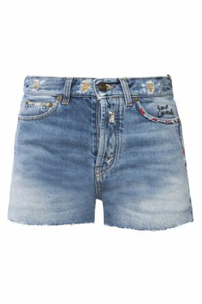 Frayed cuff shorts od Saint Laurent Paris