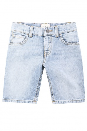 Printed denim shorts od Gucci Kids