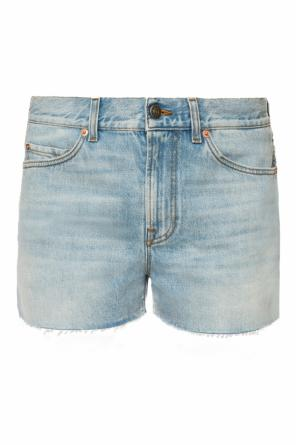 Patched denim shorts od Gucci