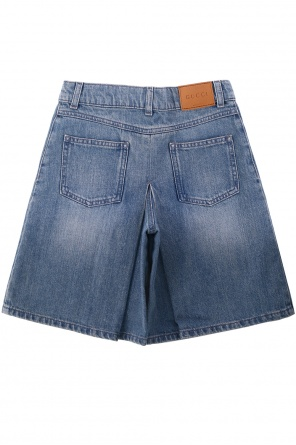 Patched denim shorts od Gucci Kids