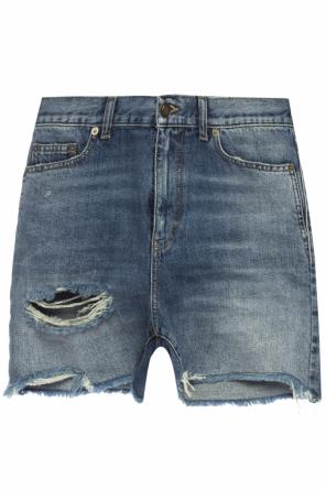 Denim shorts with holes od Saint Laurent