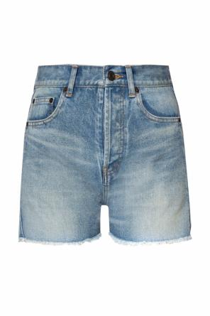 High-waisted denim shorts od Saint Laurent