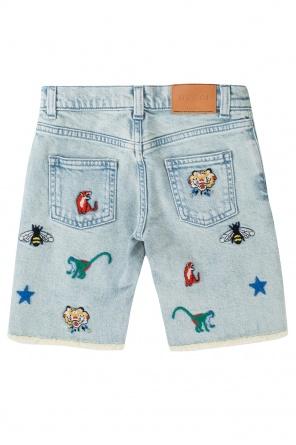 c1647a5adf84 Embroidered denim shorts od Gucci Kids ...