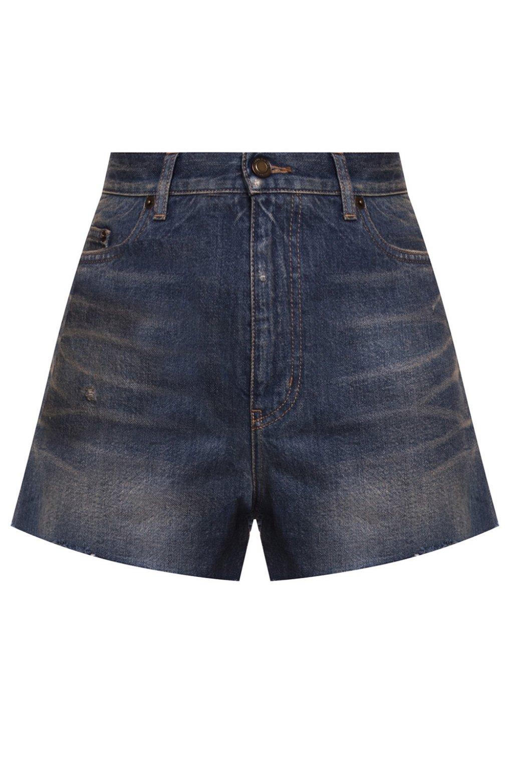 Saint Laurent Distressed denim shorts
