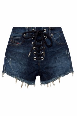 Denim shorts with woven details od Diesel