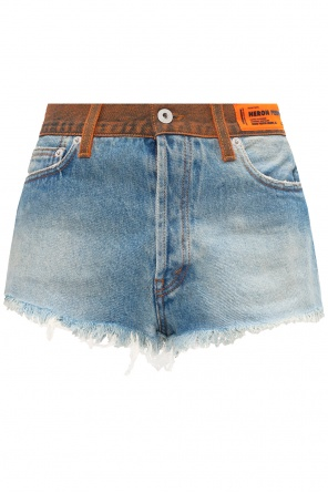 Raw edge denim shorts od Heron Preston