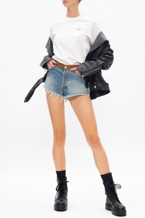 Raw edge denim shorts od Heron Preston