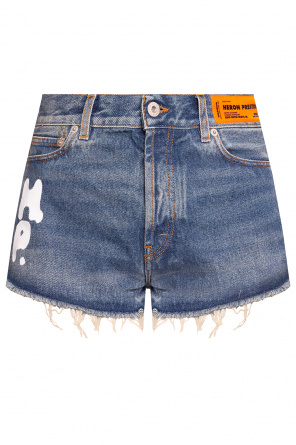 Denim shorts with logo od Heron Preston