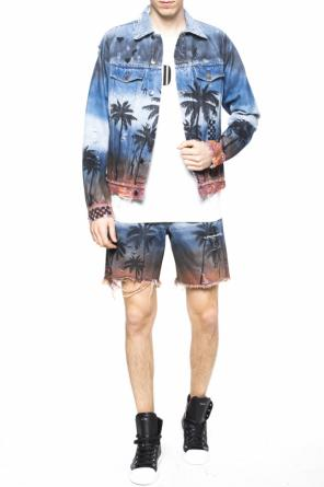 Denim shorts with palm trees od Amiri