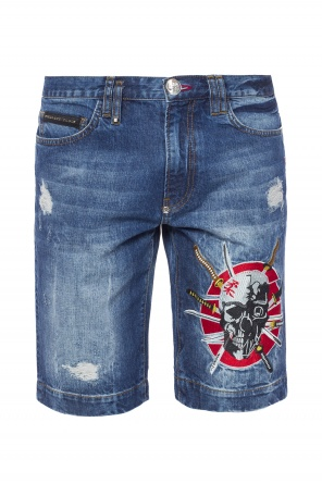 Embroidered denim shorts od Philipp Plein